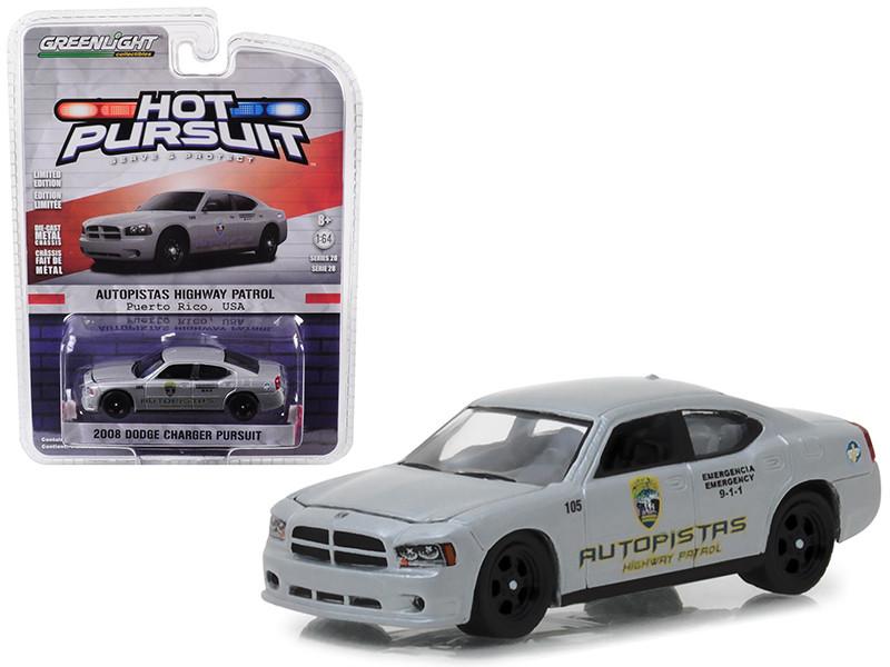 2008 Dodge Charger Pursuit Puerto Rico Autopistas Highway Patrol Hot Pursuit Series 28 1/64 Diecast Model Car Greenlight 42850 D