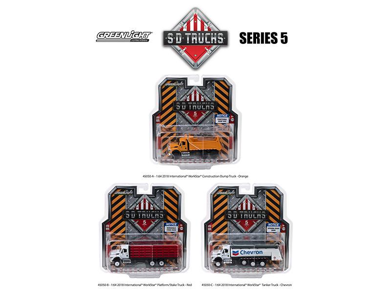 2018 International Workstar Trucks Set 3 SD Trucks Series 5 1/64 Diecast Models Greenlight 45050
