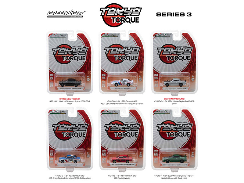 Tokyo Torque Series Release 3 Set 6 pieces 1/64 Diecast Model Cars Greenlight 47010