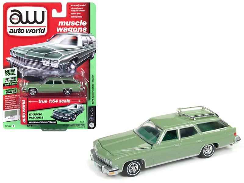 1974 Buick Estate Wagon Ranch Green Limited Edition 4400 pieces Worldwide 1/64 Diecast Model Car Autoworld AWSP007 A
