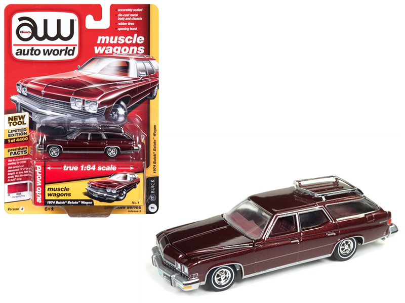 1974 Buick Estate Wagon Burgundy Poly Limited Edition 4400 pieces Worldwide 1/64 Diecast Model Car Autoworld AWSP007 B