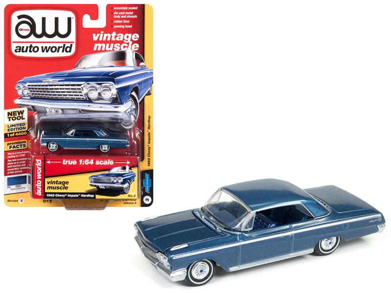 1962 Chevrolet Impala Nassau Blue Limited Edition 4400 pieces Worldwide 1/64 Diecast Model Car Autoworld AWSP008 B
