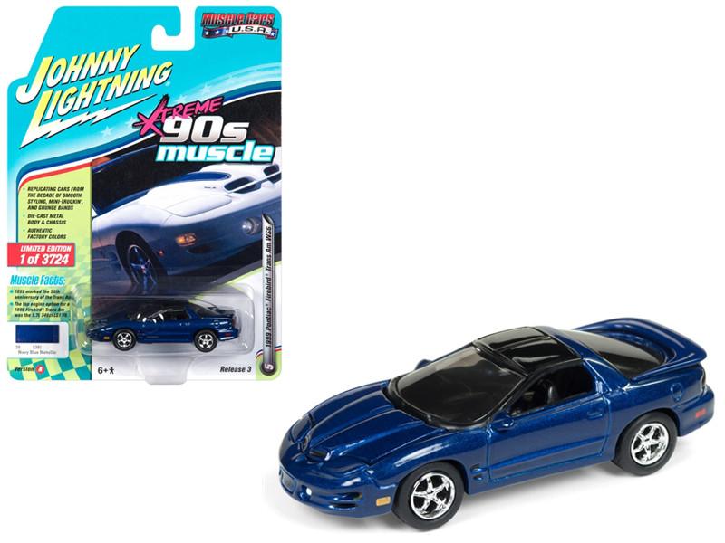 1999 Pontiac Firebird Trans Am WS6 Dark Blue Metallic 90's Muscle Limited Edition 3724 pieces Worldwide 1/64 Diecast Model Car Johnny Lightning JLSP028 A