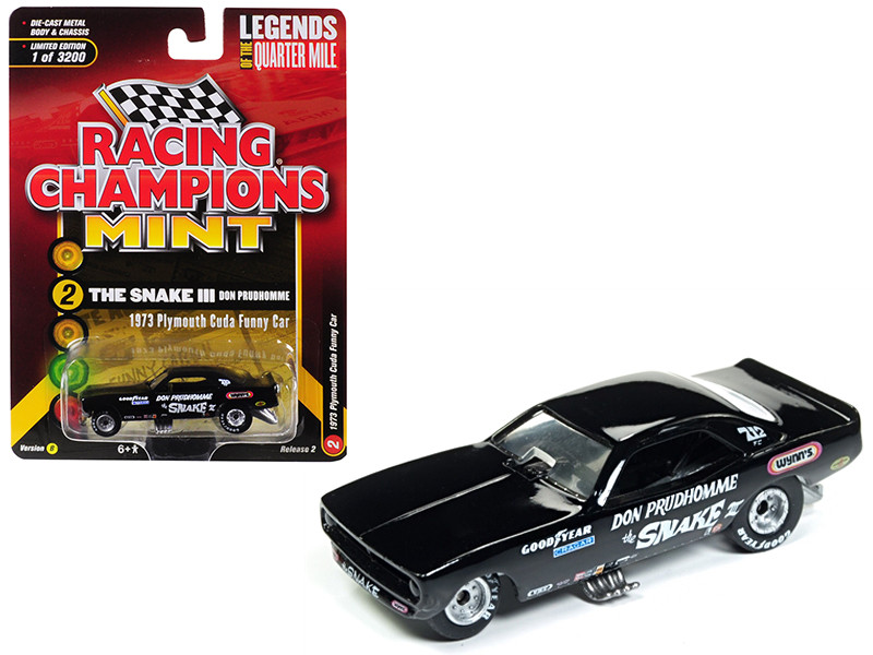1973 Plymouth Cuda Funny Car The Snake III Don Prudhomme Black Limited Edition 3200 pieces Worldwide 1/64 Diecast Model Car Racing Champions RCSP008