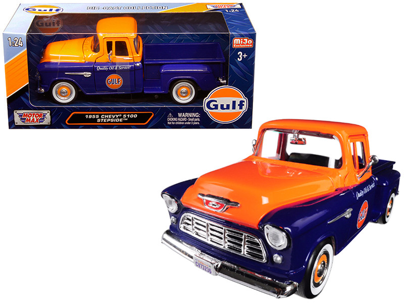 1955 Chevrolet 5100 Stepside Pickup Truck Gulf Dark Blue Orange 1/24 Diecast Model Car Motormax 79651