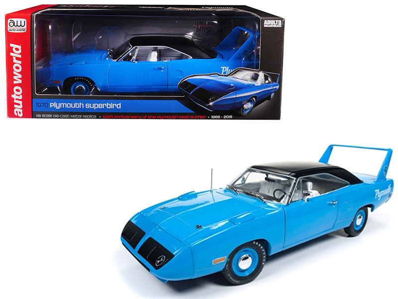 1970 Plymouth Superbird Petty Blue Black Top 50th Anniversary Looney Tunes Limited Edition 1002 pieces Worldwide 1/18 Diecast Model Car Autoworld AMM1137