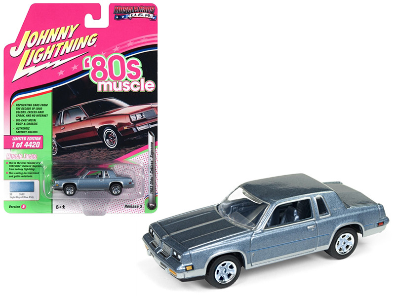 1983 Oldsmobile Cutlass Hurst Light Royal Blue Poly 80's Muscle Limited Edition 4420 pieces Worldwide 1/64 Diecast Model Car Johnny Lightning JLMC014 JLSP025 B