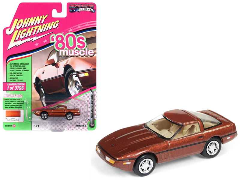 1988 Chevrolet Corvette Dark Bronze Metallic 80's Muscle Limited Edition 3796 pieces Worldwide 1/64 Diecast Model Car Johnny Lightning JLMC014 JLSP026 B