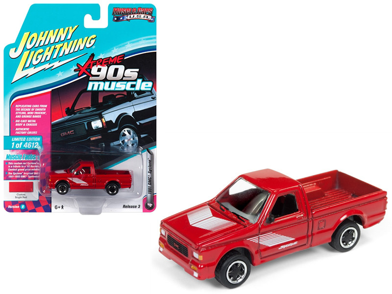 1991 GMC Syclone Pickup Truck Gloss Red 90's Muscle Limited Edition 4612 pieces Worldwide 1/64 Diecast Model Car Johnny Lightning JLMC014 JLSP027 B