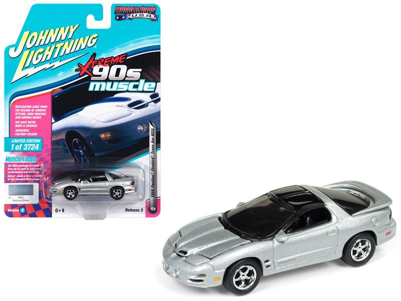 1999 Pontiac Firebird Trans Am WS6 Sebring Silver 90's Muscle Limited Edition 3724 pieces Worldwide 1/64 Diecast Model Car Johnny Lightning JLMC014 JLSP028 B