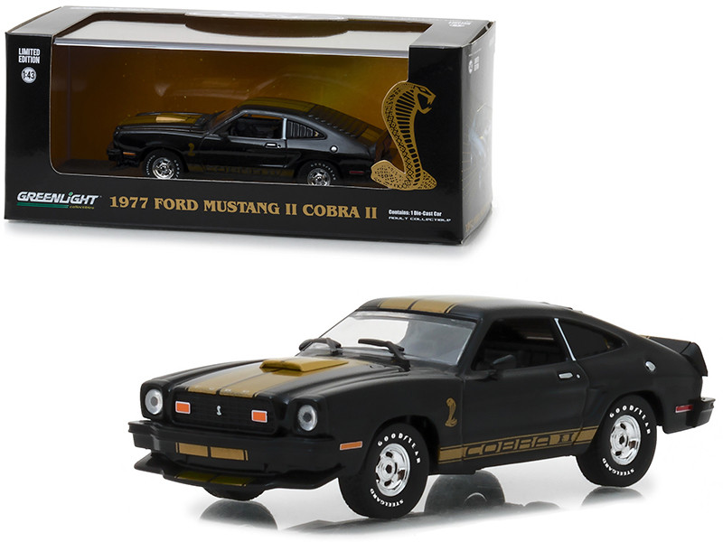 1977 Ford Mustang Cobra II Black Gold Stripes 1/43 Diecast Model Car Greenlight 86319