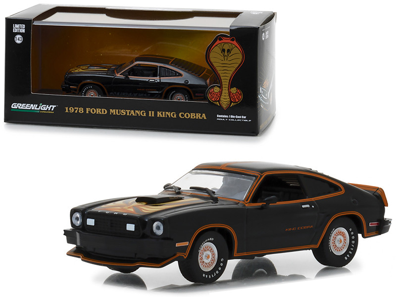 1978 Ford Mustang Cobra II Black Gold Stripes 1/43 Diecast Model Car Greenlight 86320