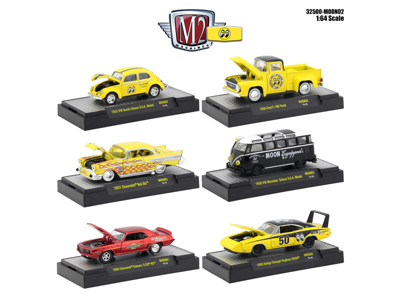 Auto Thentics Mooneyes 6 Piece Set DISPLAY CASES 1/64 Diecast Model Cars M2 Machines 32500-MOON02