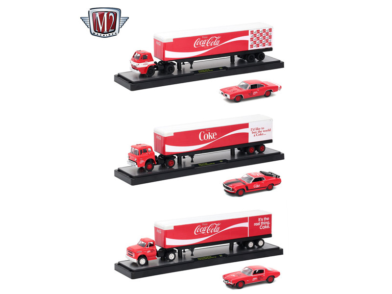 Auto Haulers Coca-Cola Release 3 Trucks Cars Set 1/64 Diecast Models M2 Machines 56000-70S01