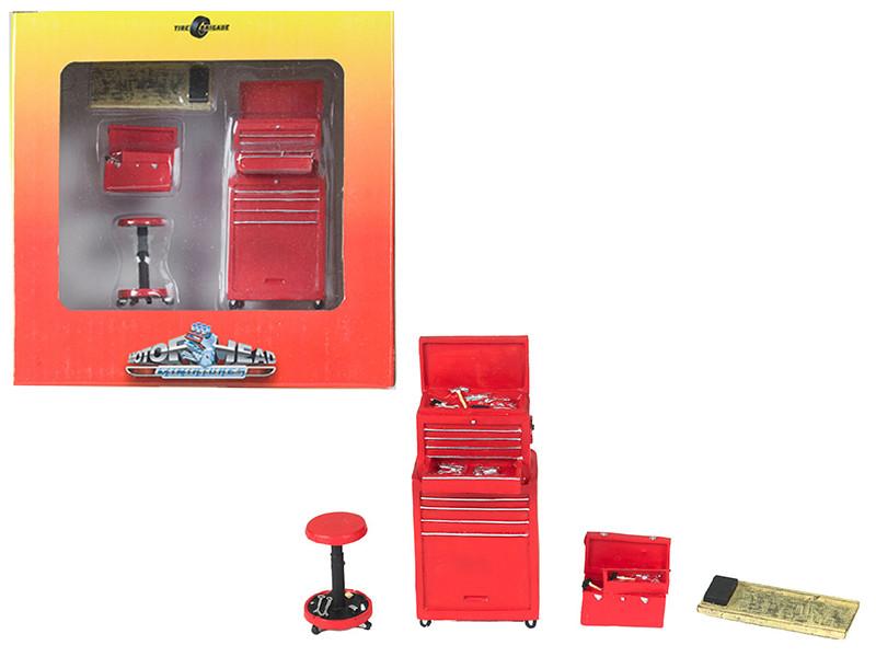 Tire Brigade 4 piece Tool Set Red 1/18 Motorhead Miniatures 189