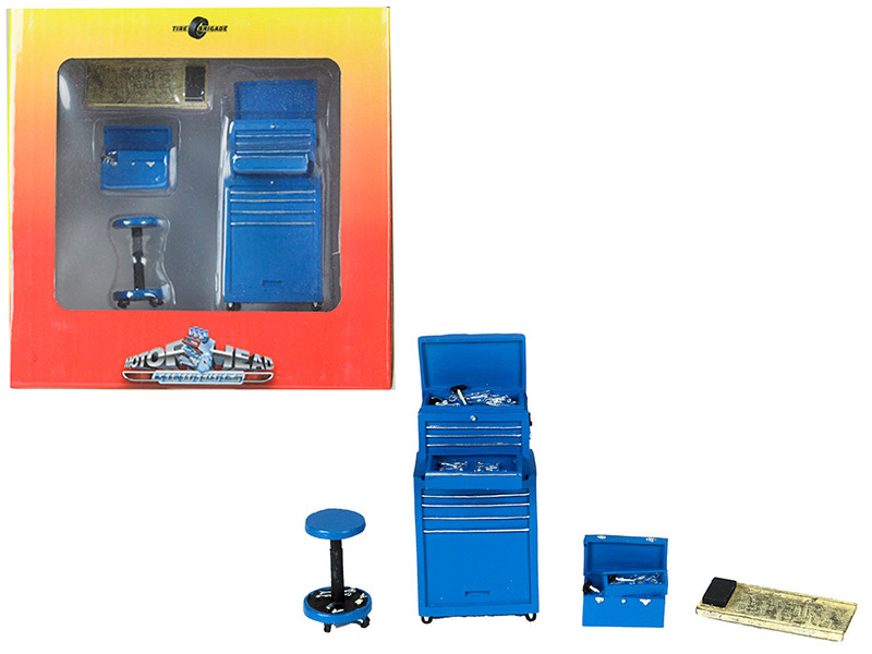 Tire Brigade 4 piece Tool Set Blue 1/18 Motorhead Miniatures 190