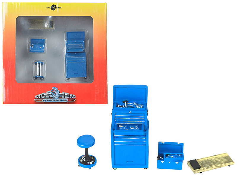 Tire Brigade 4 piece Tool Set Blue 1/24 Motorhead Miniatures 192