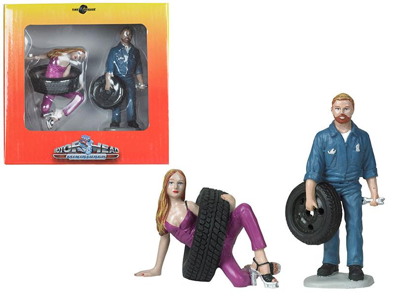Val Gary Tire Brigade 2 piece Figurine Set 1/18 Motorhead Miniatures 769