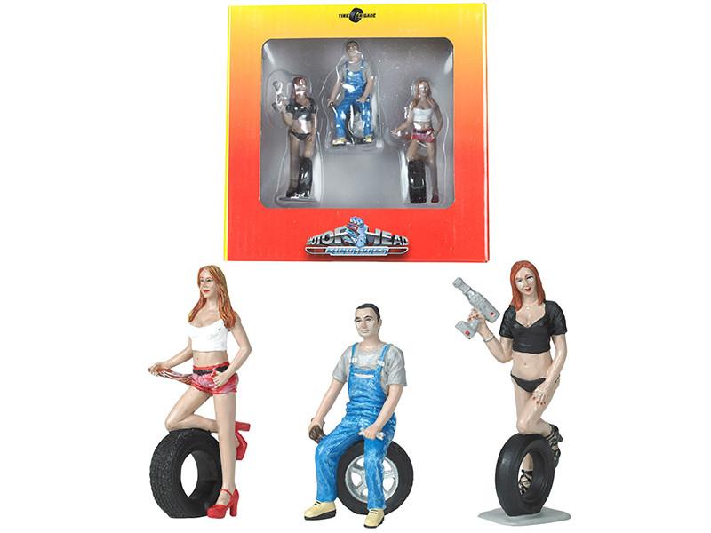 Andie Derek Michele Tire Brigade 3 piece Figurine Set 1/24 Motorhead Miniatures 773