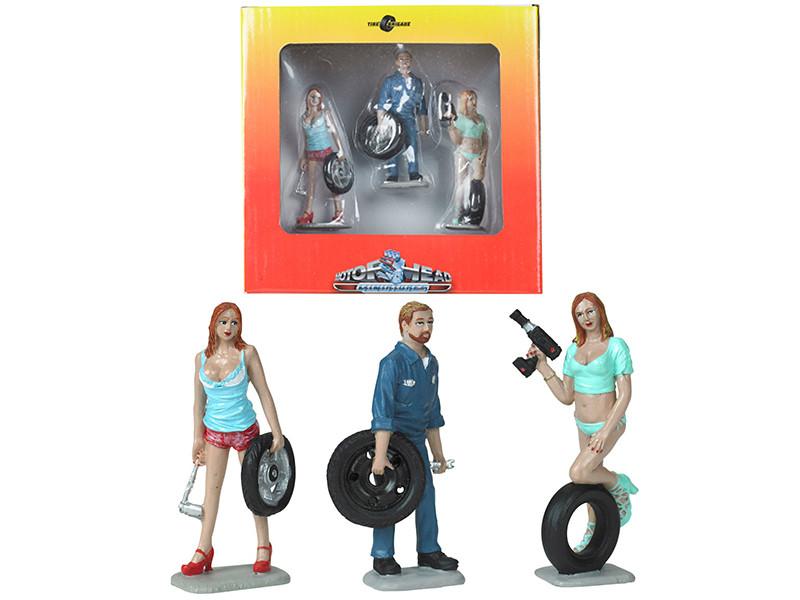 Michelle Meg Gary Tire Brigade 3 piece Figurine Set 1/24 Motorhead Miniatures 775