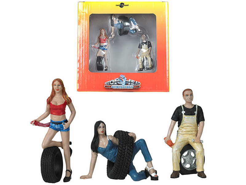 Val Andie Derek Tire Brigade 3 piece Figurine Set 1/24 Motorhead Miniatures 776