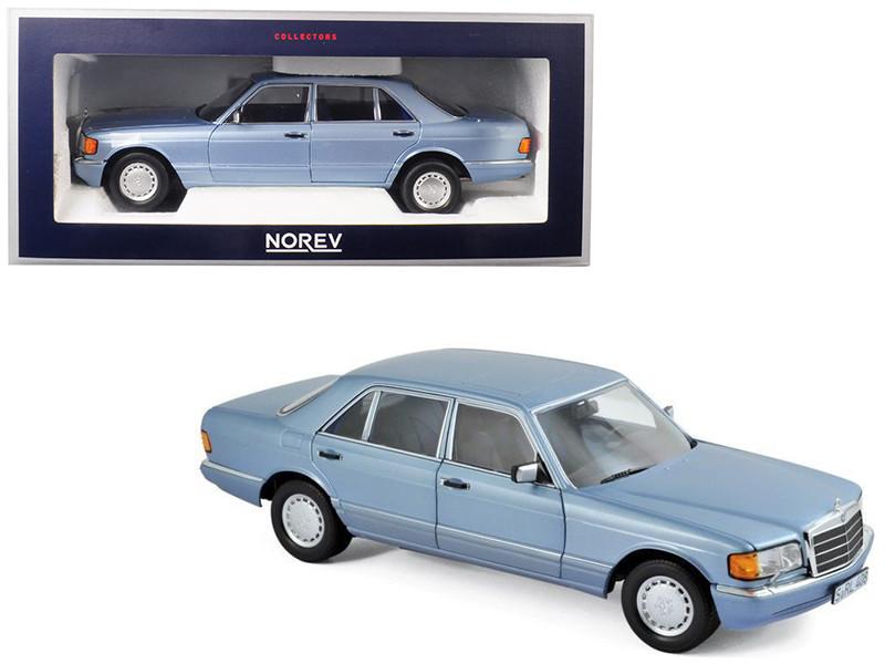 1991 Mercedes Benz 560 SEL Pearl Blue Metallic 1/18 Diecast Model Car Norev 183464