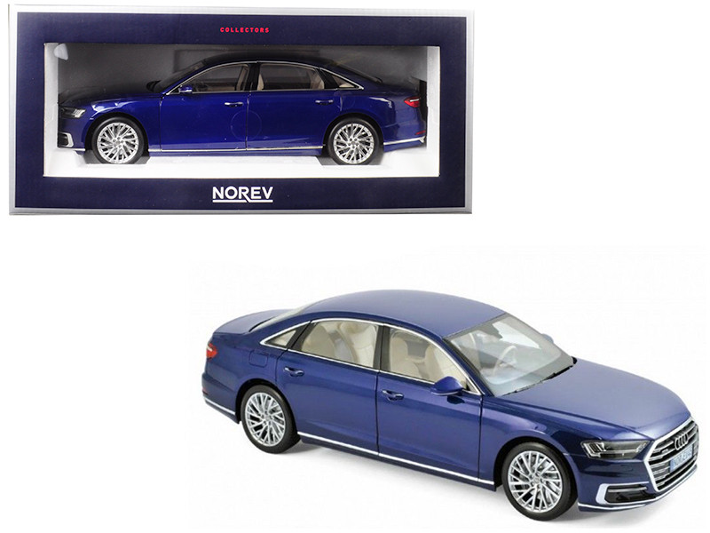2017 Audi A8 L Blue Metallic 1/18 Diecast Model Car Norev 188365