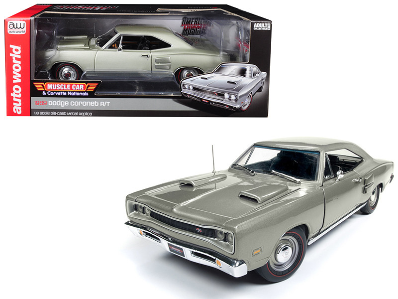 1969 Dodge Coronet R/T Silver MCACN Muscle Car Corvette Nationals Limited Edition 1002 pieces Worldwide 1/18 Diecast Model Car Autoworld AMM1141