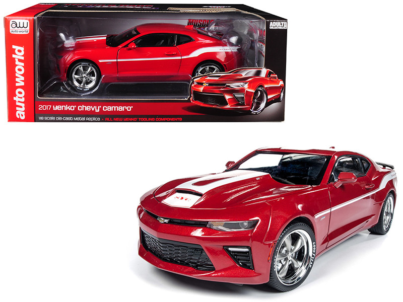 2017 Chevrolet Camaro Yenko Coupe Red White Stripes Limited Edition 1002 pieces Worldwide 1/18 Diecast Model Car Autoworld AW246