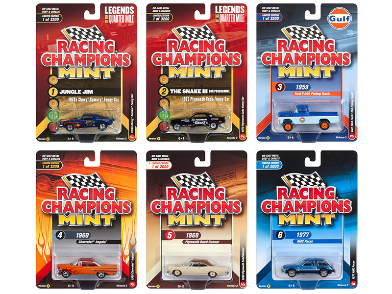 2018 Mint Release 2 Set B of 6 Cars 1/64 Diecast Models by Racing Champions