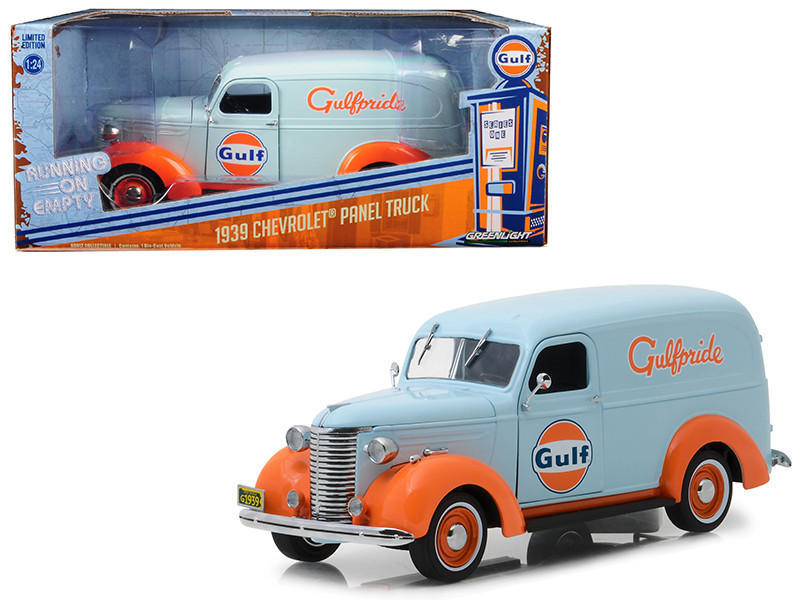 1939 Chevrolet Panel Truck Gulf Oil Running on Empty Series 1/24 Diecast Model Car Greenlight 85011