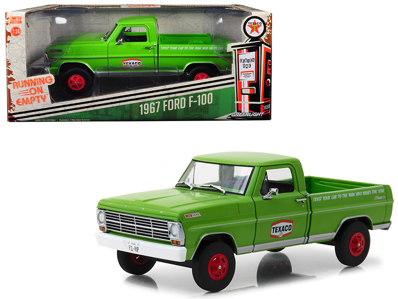 1967 Ford F-100 Pickup Truck Texaco Motor Oil Green Running on Empty Series 1/24 Diecast Model Car Greenlight 85012