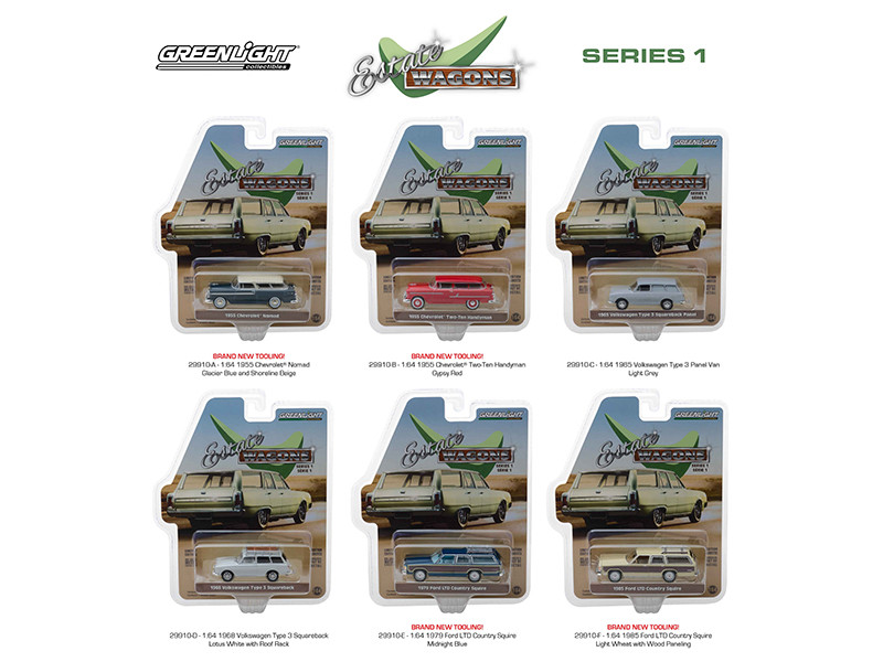 Estate Wagons Series 1 Set 6 Cars 1/64 Diecast Models Greenlight 29910