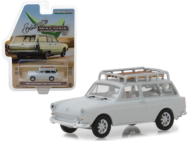 1968 Volkswagen Type 3 Squareback Lotus White Roof Rack Estate Wagons Series 1 1/64 Diecast Model Car Greenlight 29910 D
