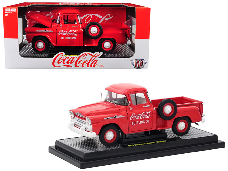 1958 Chevrolet Apache Stepside Pickup Truck Coca-Cola Red Limited Edition 9600 pieces Worldwide 1/24 Diecast Model Car M2 Machines 50300-RW01