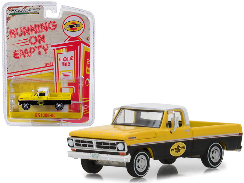 1972 Ford F-100 Pickup Truck Pennzoil Yellow Black White Top Running on Empty Series 6 1/64 Diecast Model Car Greenlight 41060 D