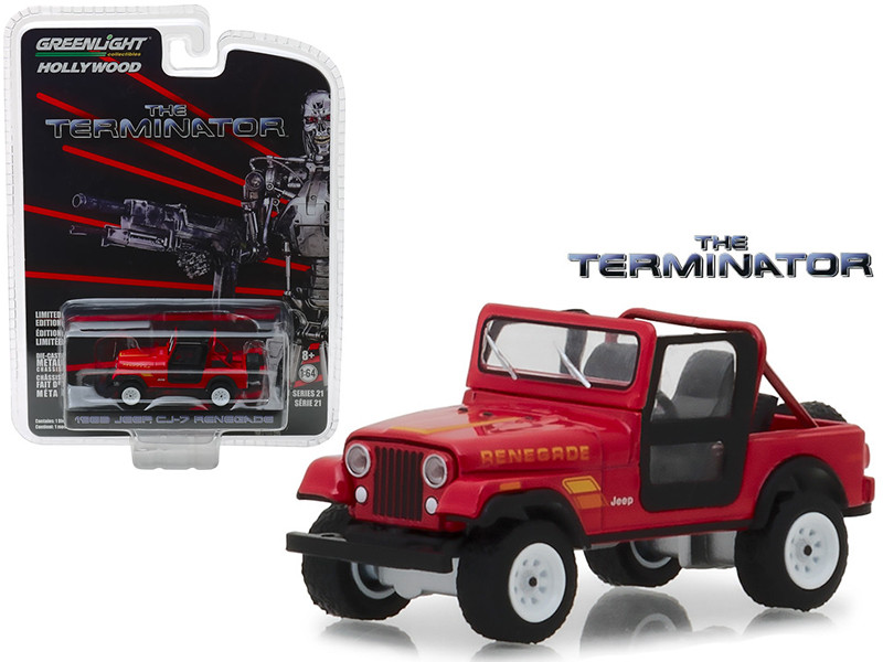 1983 Jeep CJ-7 Renegade Red Sarah Connor's The Terminator 1984 Movie Hollywood Series 21 1/64 Diecast Model Car Greenlight 44810 B