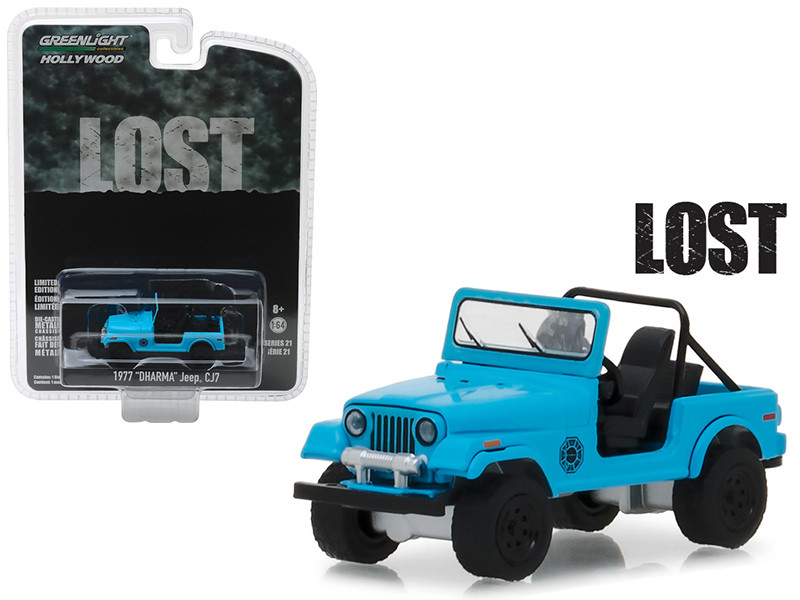 1977 Jeep CJ-7 Dharma Blue Lost 2004 2010 TV Series Hollywood Series 21 1/64 Diecast Model Car Greenlight 44810 F