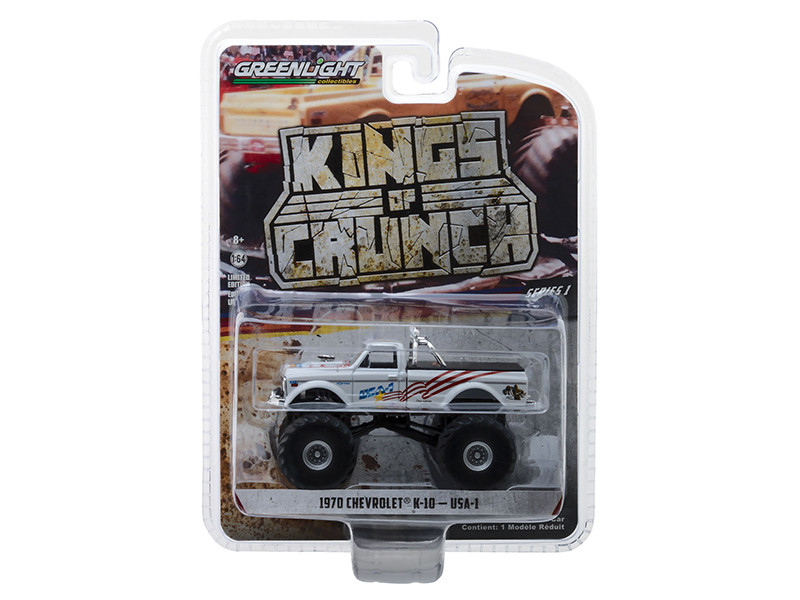 1970 Chevrolet K-10 USA-1 Monster Truck White Kings of Crunch Series 1/64 Diecast Model Car Greenlight 49010 B