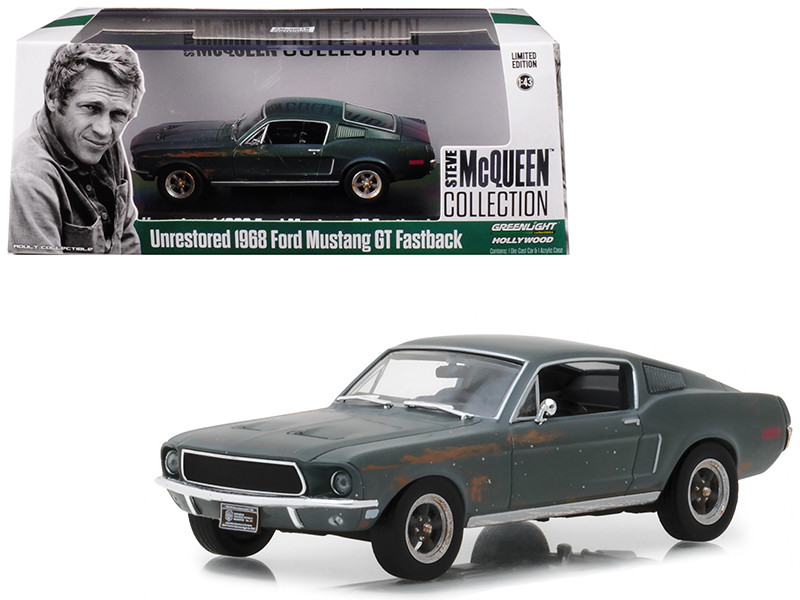 1968 Ford Mustang GT Fastback Green Unrestored Steve McQueen Collection 1930 1980 2018 Detroit Auto Show 1/43 Diecast Model Car Greenlight 86437