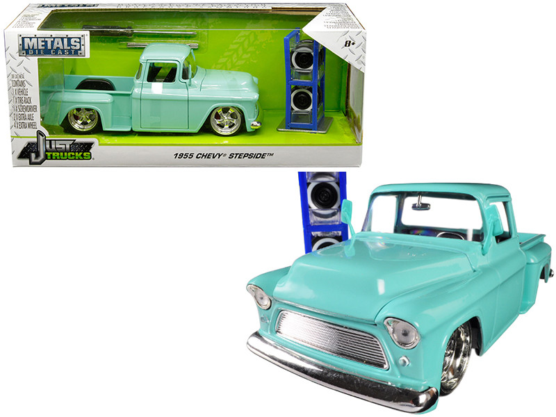 1955 Chevrolet Stepside Pickup Truck Light Turquoise Extra Wheels Just Trucks Series 1/24 Diecast Model Jada 30197