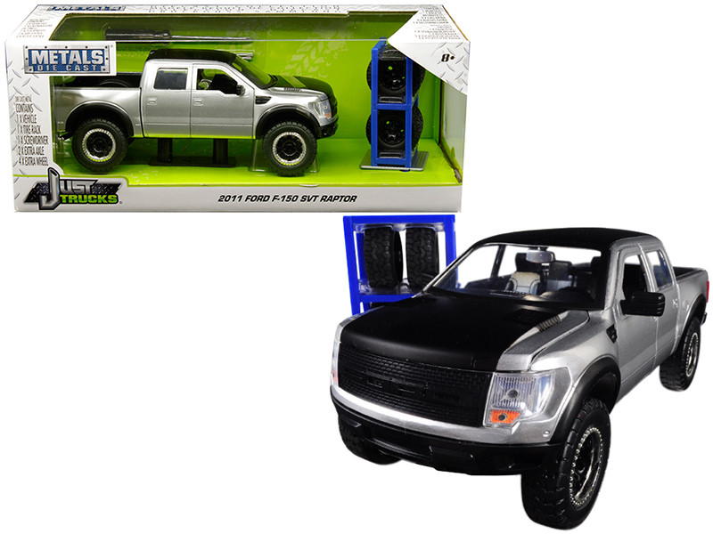 2011 Ford F-150 SVT Raptor Pickup Truck Silver Matte Black Top Extra Wheels Just Trucks Series 1/24 Diecast Model Jada 30198