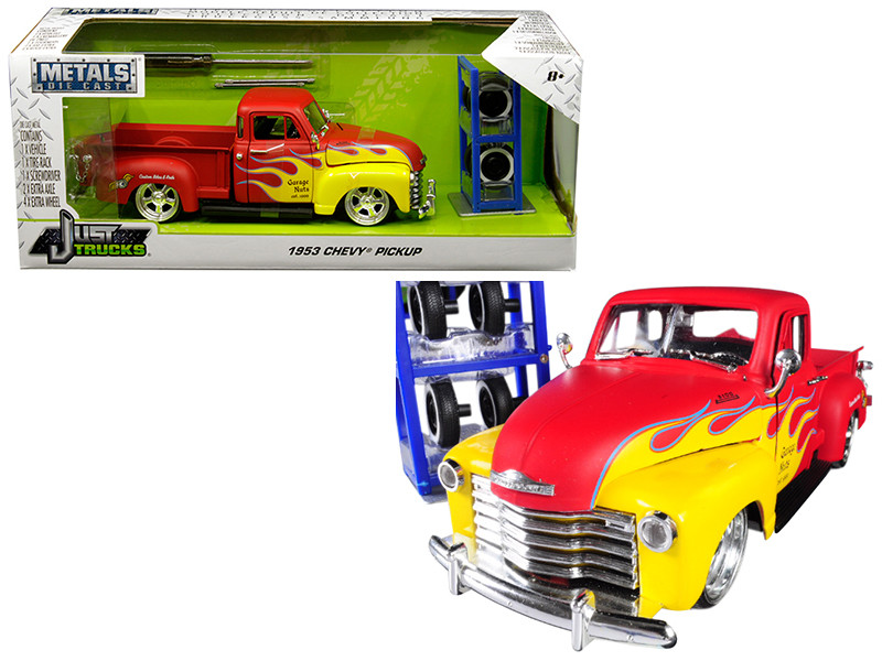 1953 Chevrolet Pickup Truck Red Yellow Flames Extra Wheels Just Trucks Series 1/24 Diecast Model Jada 30355