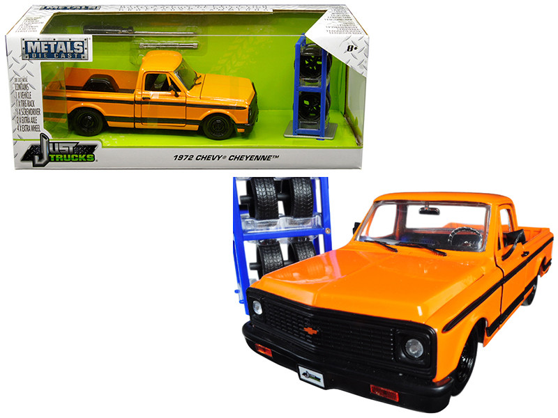 1972 Chevrolet Cheyenne Pickup Truck Orange Black Stripes Extra Wheels Just Trucks Series 1/24 Diecast Model Jada 30658
