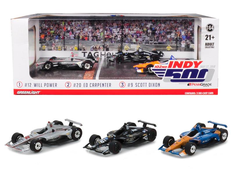 2018 Indianapolis 500 Podium 3 Pieces Set 1/64 Diecast Model Cars Greenlight 10828