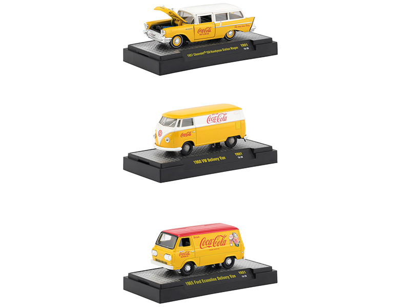 Coca Cola Yellow Set 3 Cars Limited Edition 4800 pieces Worldwide Hobby Exclusive 1/64 Diecast Models M2 Machines 52500-YR01
