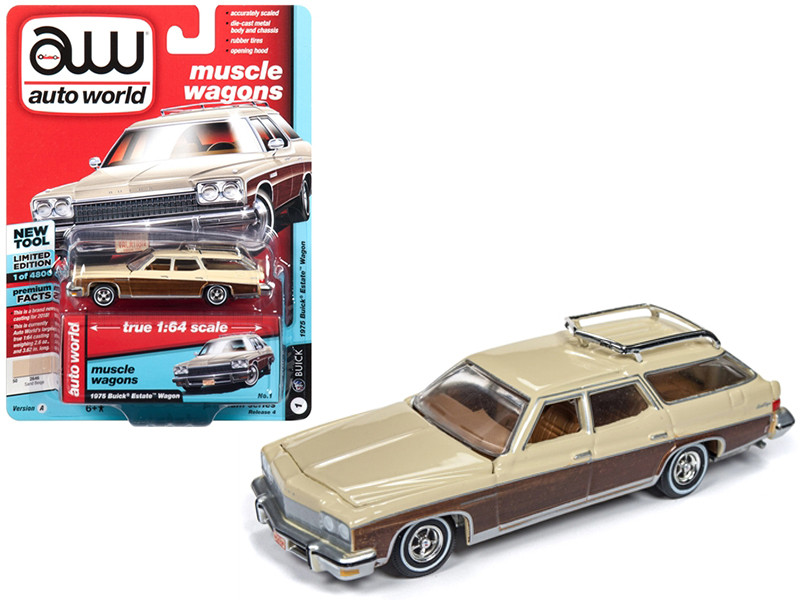 1975 Buick Estate Wagon Sand Beige Woodgrain Limited Edition 4800 pieces Worldwide 1/64 Diecast Model Car Autoworld AWSP013 A