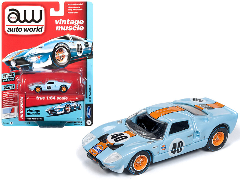 1965 Ford GT40 #40 Gulf Light Blue Orange Stripe Limited Edition 4728 pieces Worldwide 1/64 Diecast Model Car Autoworld AWSP015 A
