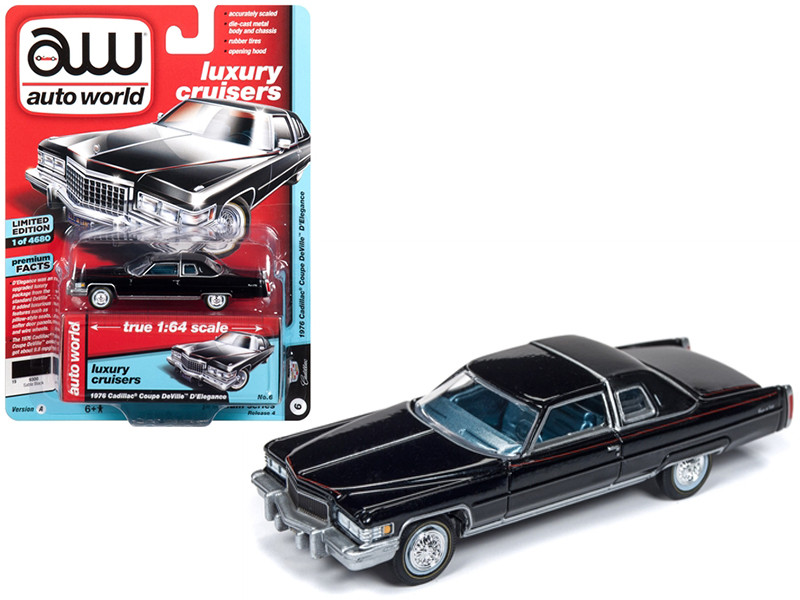 1976 Cadillac Coupe DeVille D'Elegance Gloss Black Flat Black Roof Limited Edition 4680 pieces Worldwide 1/64 Diecast Model Car Autoworld AWSP017 A