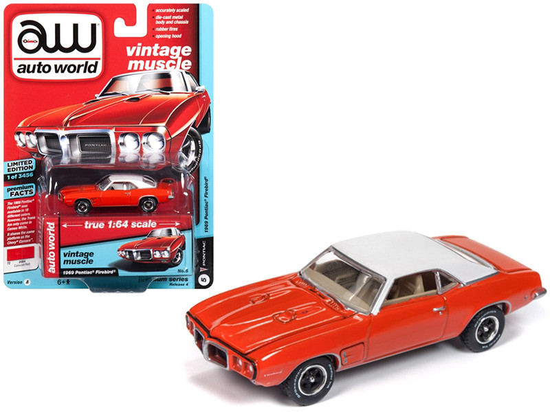 1969 Pontiac Firebird Carousel Red Flat White Roof Limited Edition 3456 pieces Worldwide 1/64 Diecast Model Car Autoworld AWSP018 A